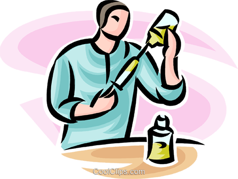 doctor loading a syringe Royalty Free Vector Clip Art illustration vc065206