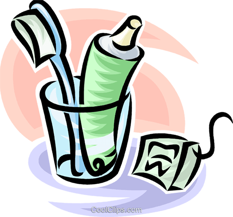 toothbrush/toothpaste and dental floss Royalty Free Vector Clip Art illustration vc065219