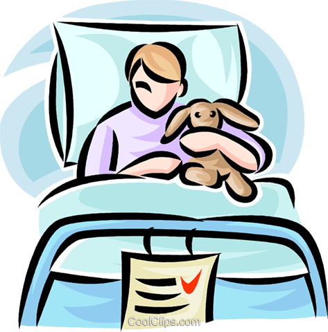 child in a hospital bed Royalty Free Vector Clip Art illustration vc065220