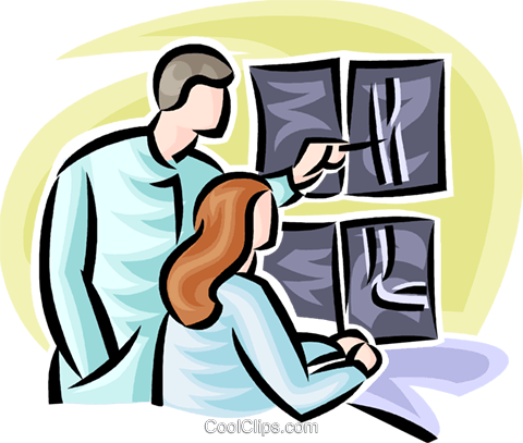doctors looking at an x-ray Royalty Free Vector Clip Art illustration vc065223