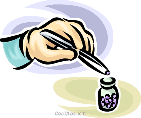 person picking up a pill with tweezers Royalty Free Vector Clip Art illustration vc065224