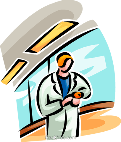 doctor looking at her watch Royalty Free Vector Clip Art illustration vc065232