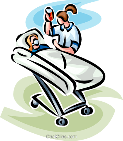 woman in a hospital bed Royalty Free Vector Clip Art illustration vc065236
