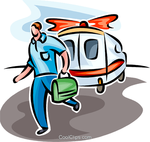 paramedic rushing from an ambulance Royalty Free Vector Clip Art illustration vc065239
