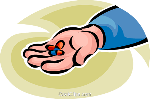person with a handful of pills Royalty Free Vector Clip Art illustration vc065247