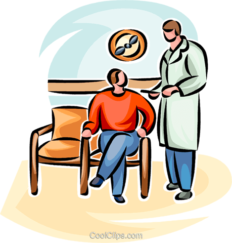 doctor talking to a patient Royalty Free Vector Clip Art illustration vc065249