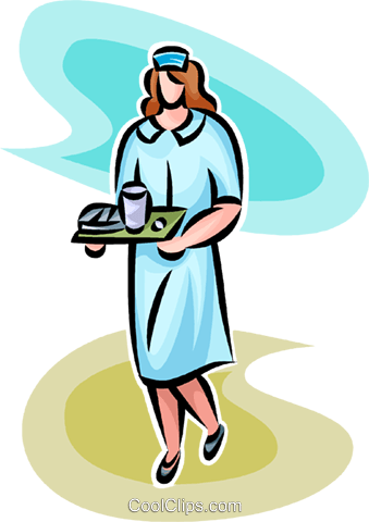 nurse with a tray of food Royalty Free Vector Clip Art illustration vc065255