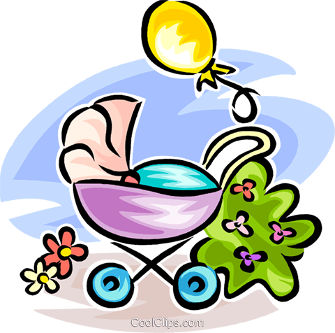 baby carriage/stroller Royalty Free Vector Clip Art illustration vc065259