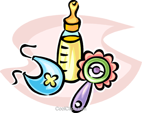 baby bottle, rattle, and bib Royalty Free Vector Clip Art illustration vc065261