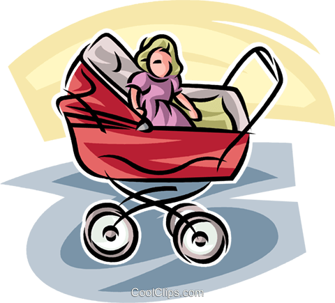 baby carriage Royalty Free Vector Clip Art illustration vc065267