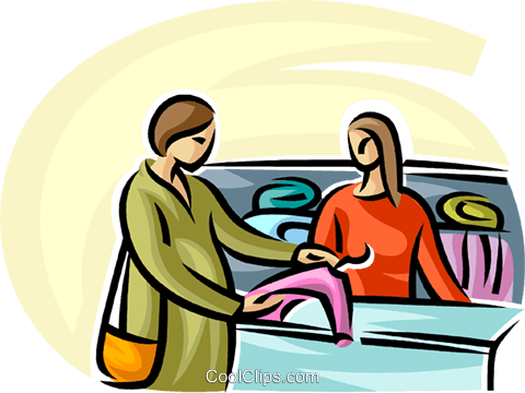 woman buying maternity clothes Royalty Free Vector Clip Art illustration vc065273