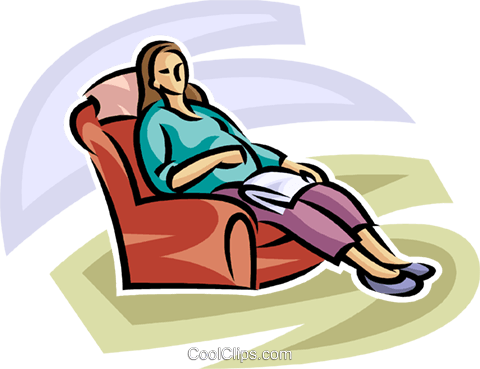 pregnant woman relaxing in a chair Royalty Free Vector Clip Art illustration vc065277