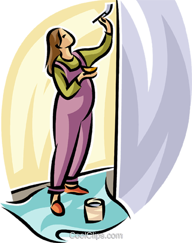 pregnant woman painting the nursery Royalty Free Vector Clip Art illustration vc065282
