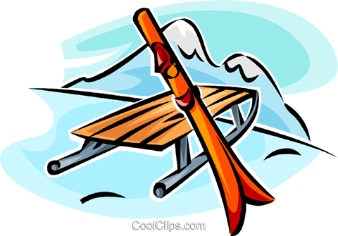 sleigh and skis Royalty Free Vector Clip Art illustration vc065284