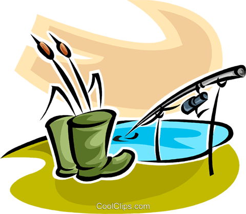 rubber boots and a fishing rod Royalty Free Vector Clip Art illustration vc065285