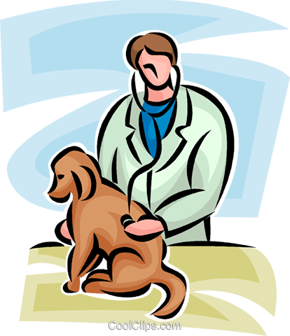 veterinarian looking at a dog Royalty Free Vector Clip Art illustration vc065289