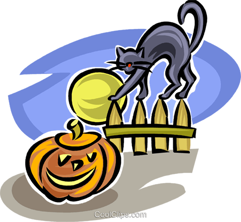 Jack-o-lantern and black cat Royalty Free Vector Clip Art illustration vc065296