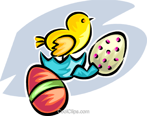 Easter egg and chick Royalty Free Vector Clip Art illustration vc065298