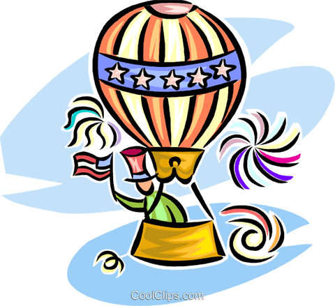 hot air balloon/ independence day Royalty Free Vector Clip Art illustration vc065307