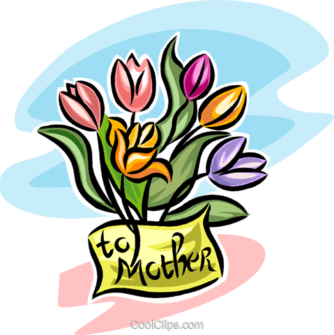 flowers for mother's day Royalty Free Vector Clip Art illustration vc065314
