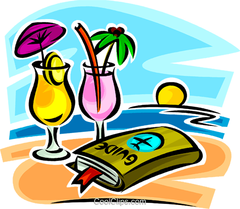 travel guide and cocktails on the beach Royalty Free Vector Clip Art illustration vc065334