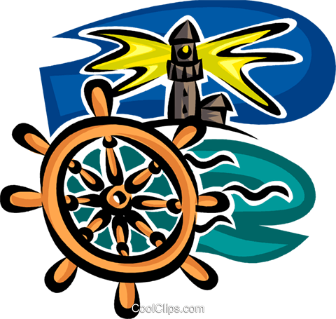 lighthouse and captain's wheel Royalty Free Vector Clip Art illustration vc065335