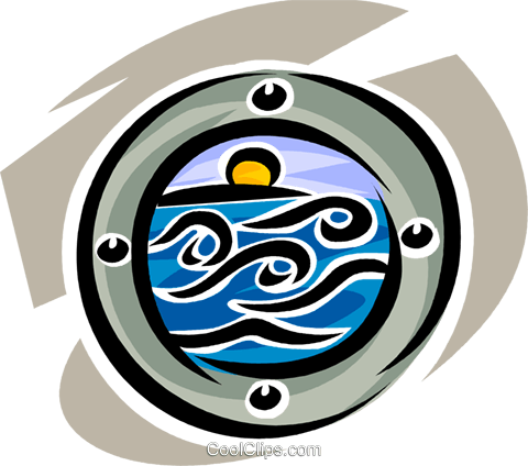 looking at the ocean through a porthole Royalty Free Vector Clip Art illustration vc065337