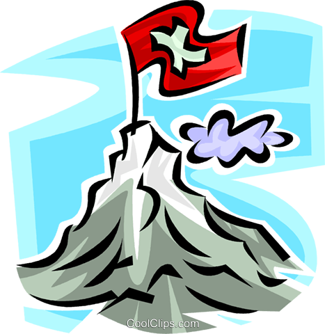flag on the summit on a mountain Royalty Free Vector Clip Art illustration vc065339