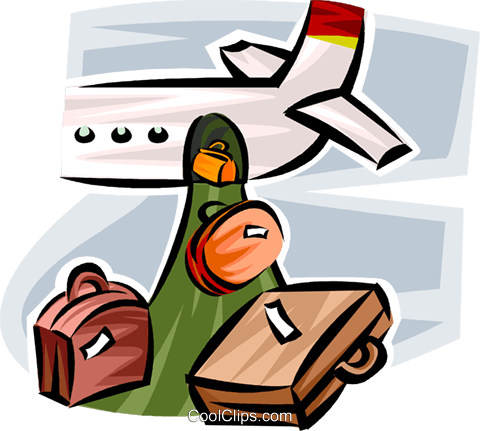 luggage being unloaded from a plane Royalty Free Vector Clip Art illustration vc065341