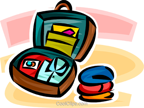 packing a suitcase Royalty Free Vector Clip Art illustration vc065342