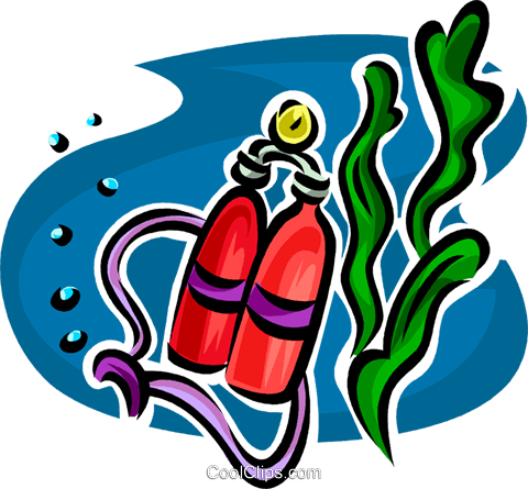 Scuba oxygen tanks Royalty Free Vector Clip Art illustration vc065352