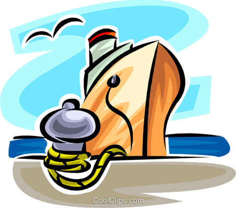 ship tied at a pier Royalty Free Vector Clip Art illustration vc065360