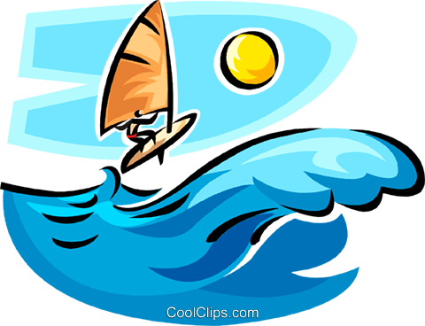 person on a sailboard Royalty Free Vector Clip Art illustration vc065365