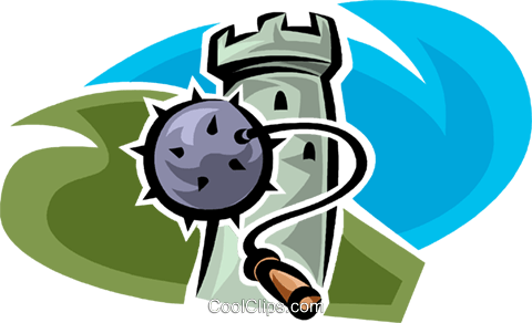 mace and a watchtower Royalty Free Vector Clip Art illustration vc065370