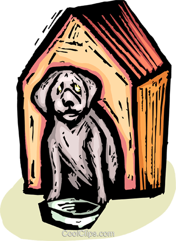dog in a doghouse Royalty Free Vector Clip Art illustration vc065400