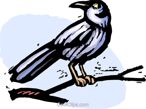 bird sitting on a branch Royalty Free Vector Clip Art illustration vc065401