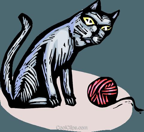 猫和毛线球 免版税矢量剪贴画插图图片