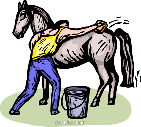 man brushing a horse Royalty Free Vector Clip Art illustration vc065404