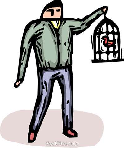 man with a birdcage Royalty Free Vector Clip Art illustration vc065407