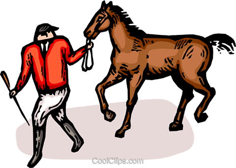 equestrian rider with a horse Royalty Free Vector Clip Art illustration vc065415