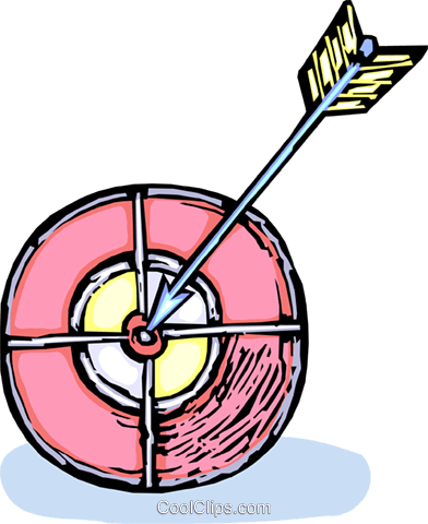 archery target with an arrow in it Royalty Free Vector Clip Art illustration vc065424