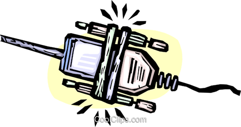 computer cables Royalty Free Vector Clip Art illustration vc065442