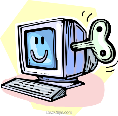wind up computer monitor Royalty Free Vector Clip Art illustration vc065444