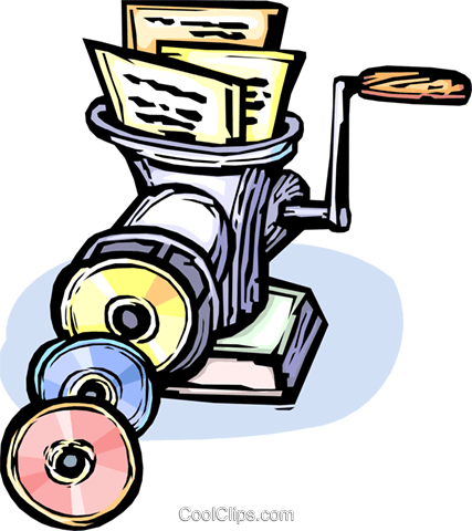 putting paper data onto Rom-rom Royalty Free Vector Clip Art illustration vc065449
