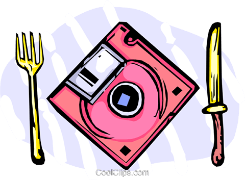 software floppy disk place setting Royalty Free Vector Clip Art illustration vc065454