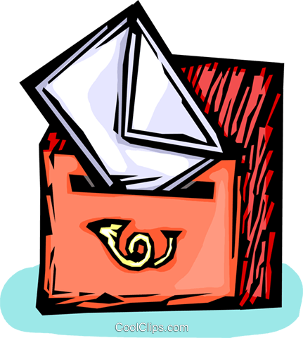 letter being put into a mailbox Royalty Free Vector Clip Art illustration vc065466
