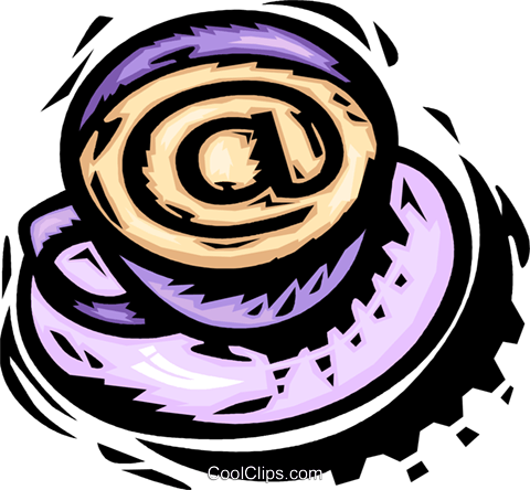 cup of coffee with an e-mail symbol Royalty Free Vector Clip Art illustration vc065476