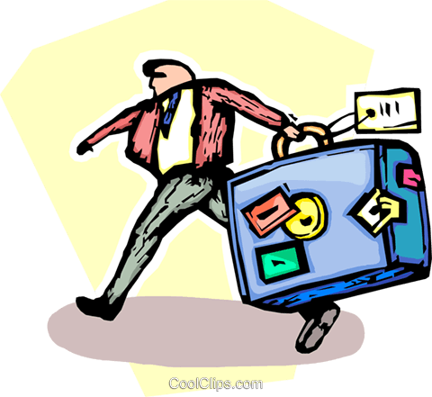 businessman with a suitcase Royalty Free Vector Clip Art illustration vc065492