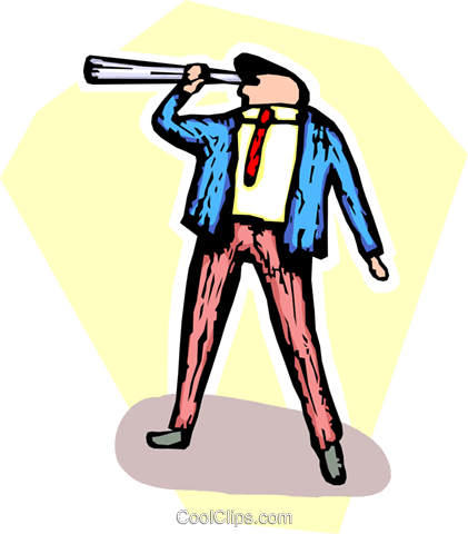 businessman looking through a telescope Royalty Free Vector Clip Art illustration vc065493