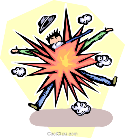 businessman exploding Royalty Free Vector Clip Art illustration vc065494